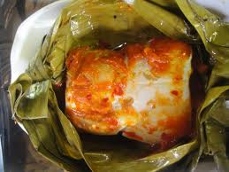 Brengkes atau Pepes Ikan Patin campur tempoyak (olahan dari durian)