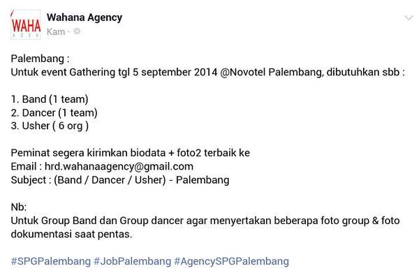 lokerplg-need-group-band-dancer-6-org-usher-u-event-gathering-5-sept-info-wahanaagency-spgpalembang-httpt-co9idvnepg3n