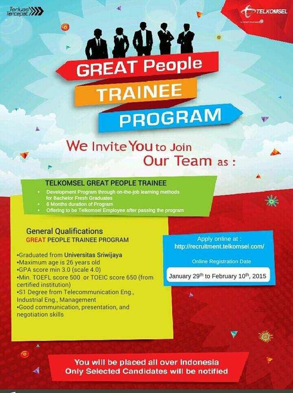 lokerplg-lets-join-telkomsel-great-people-trainee-program-khusus-bagi-alumni-unsri-info-cek-poster-grienf-httpt-cogx3m3yuuqu