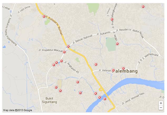 Peta Lokasi Tempat Makan Palembang