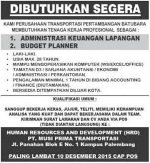 Lowongan Kerja Wilayah Palembang