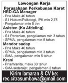 Lowongan Kerja Wanita Palembang
